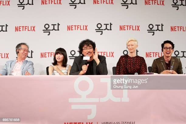 Bong Joon Ho Byun Heebong An Seo Hyun Tilda Swinton and Steven Yeun attend the official press conference after Korea Red Carpet Premiere of Netflix...