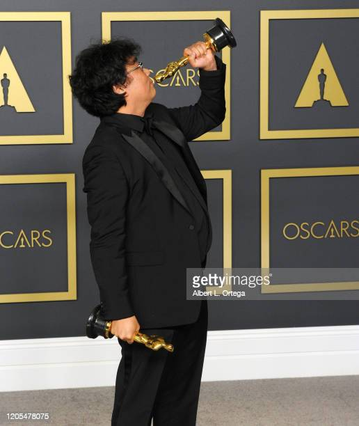 Bong Joon Ho poses with his Award for Best Director, Best Picture inside The Press Room of the 92nd Annual Academy Awards held at Hollywood and...