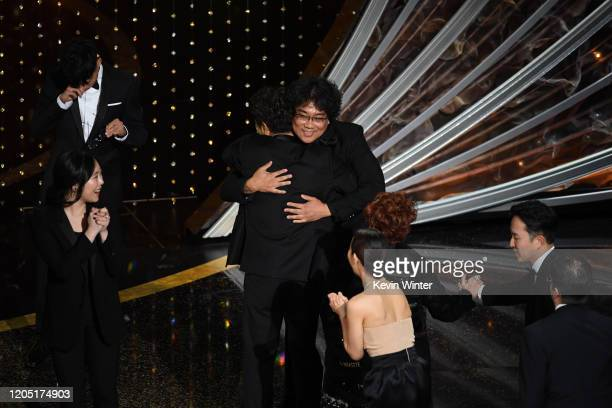 Bong Joonho accepts the Best Picture award for 'Parasite' onstage during the 92nd Annual Academy Awards at Dolby Theatre on February 09 2020 in...