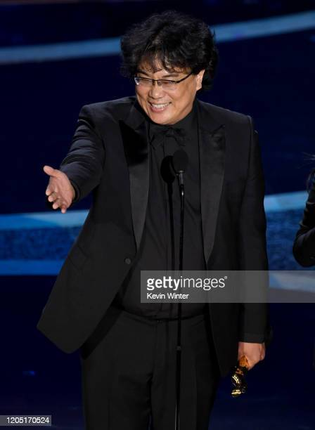 Bong Joon-ho accepts the Directing award for 'Parasite' onstage during the 92nd Annual Academy Awards at Dolby Theatre on February 09, 2020 in...