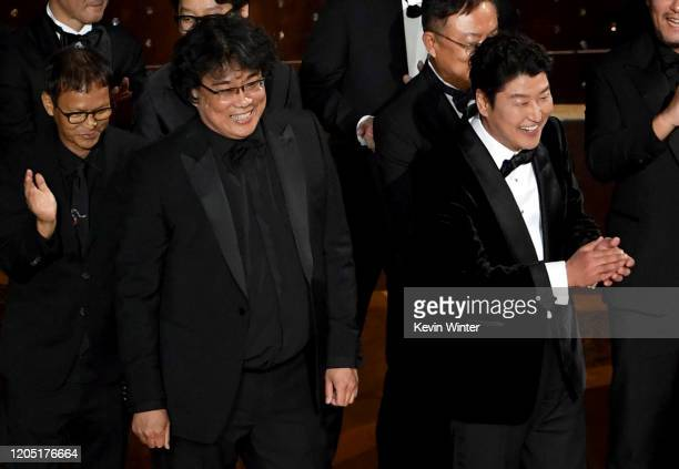 Bong Joonho and KangHo Song accept the Directing award for 'Parasite' onstage during the 92nd Annual Academy Awards at Dolby Theatre on February 09...
