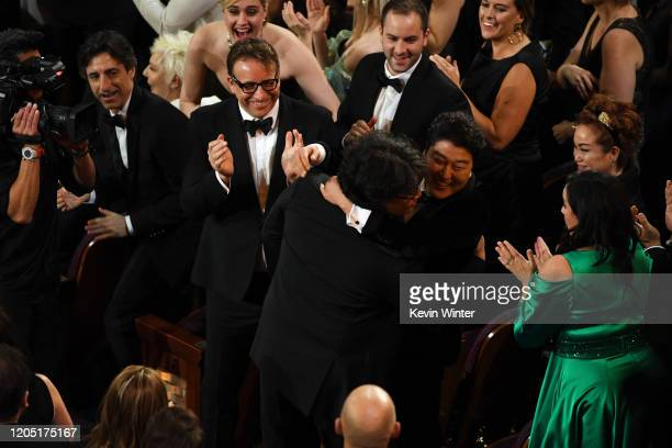 Bong Joonho and Kangho Song react after 'Parasite' was named Best Picture during the 92nd Annual Academy Awards at Dolby Theatre on February 09 2020...