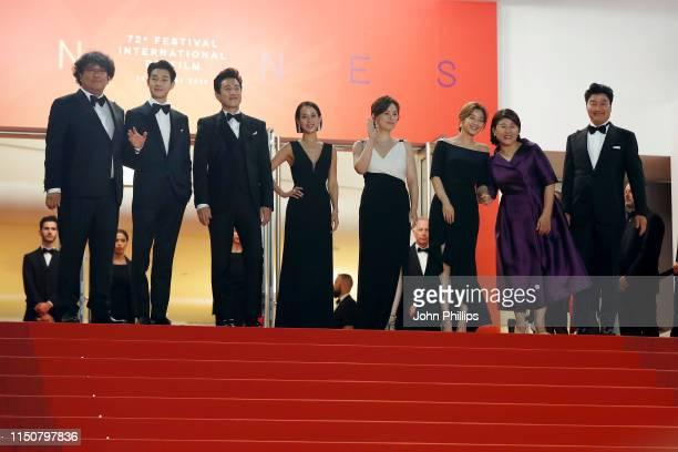 Bong JoonHo Choi WooShik Lee SunKyun Cho YeoJeong Chang HyaeJin Park SoDam Lee JungEun and KangHo Song attend the screening of Parasite during the...