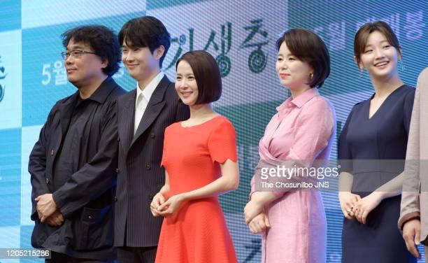 Bong JoonHo Choi WooSik Cho YeoJeong Jang HyeJin and Park SoDam attend premiere of Korean Movie 'Parasite' at Westin Chosun Hotel on April 22 2019 in...