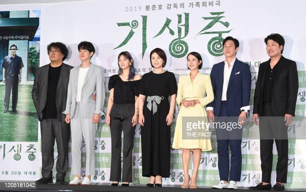 Bong JoonHo Choi WooSik Park SoDam Jang HyeJin Cho YeoJeong Lee SunKyun and Song KangHo attend press conference of Korean movie 'Parasite' at CGV...