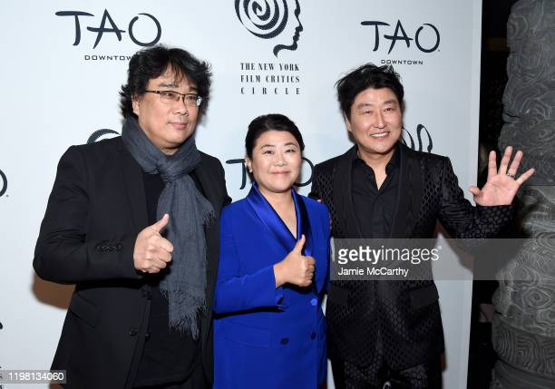 Bong JoonHo Lee Jeongeun and Song Kangho attends the 2019 New York Film Critics Circle Awards at TAO Downtown on January 07 2020 in New York City
