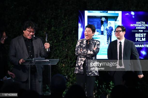 Bong Joonho Song Kangho and Han Jinwon speak onstage at the 9th AACTA International Awards at Mondrian Los Angeles on January 03 2020 in West...