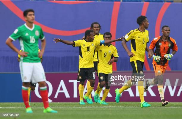 Bong Kalo of Vanuatu celebrates with team mates after scoring their first goal during the FIFA U20 World Cup Korea Republic 2017 group B match...