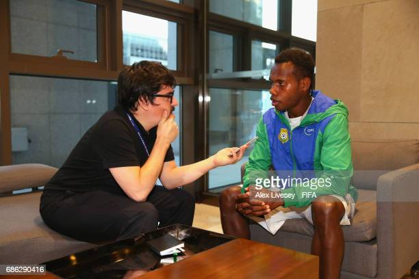 Bong Kalo of Vanuatu is interviewed at the Lotte City Hotel during the FIFA U20 World Cup on May 21 2017 in Daejeon South Korea