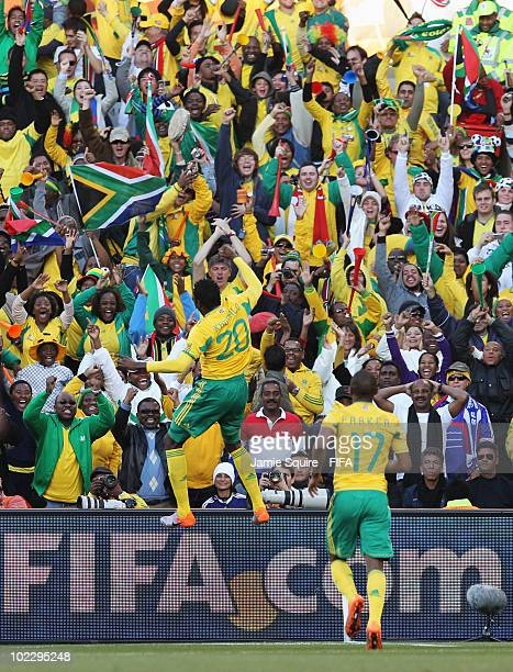 Bongani Khumalo of South Africa celebrates scoring during the 2010 FIFA World Cup South Africa Group A match between France and South Africa at the...