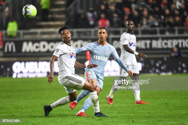 Bongani Zungu of Amiens and Youri Tielmans of Monaco during the Ligue 1 match between Amiens SC and AS Monaco at Stade de la Licorne on November 17...