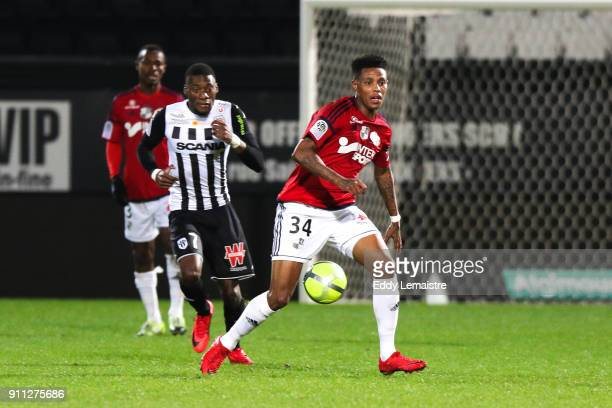Bongani Zungu of Amiens during the Ligue 1 match between Angers SCO and Amiens SC at Stade Raymond Kopa on January 27 2018 in Angers