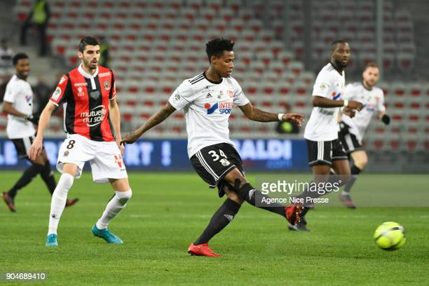 Bongani Zungu of Amiens during the Ligue 1 match between Nice and Amiens at Allianz Riviera Stadium on January 13 2018 in Nice France