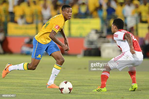 Bongani Zungu of Mamelodi Sundowns and Granweld Scott of Ajax Cape Town during the Absa Premiership match between Mamelodi Sundowns and Ajax Cape...