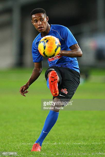 Bongani Zungu of South Africa shoots toward goal during a South Africa training session at ANZ Stadium on May 25 2014 in Sydney Australia