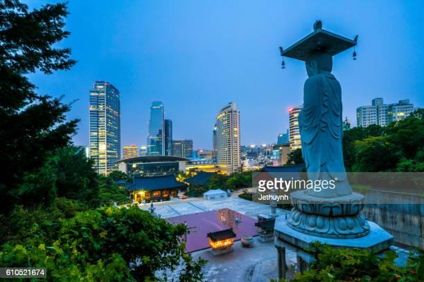 Bongeunsa Temple and Seoul skyline
