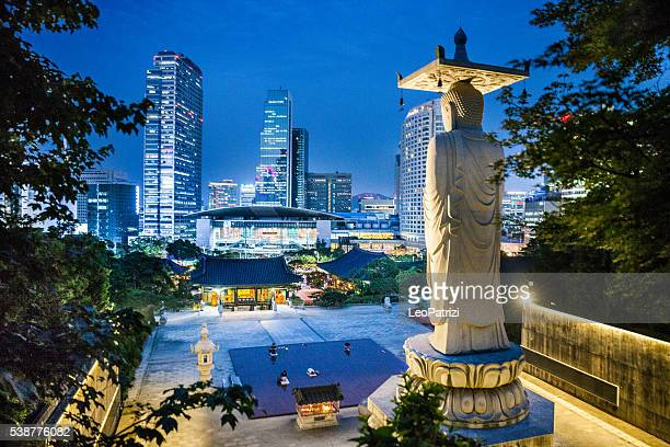 bongeunsa temple and seoul wtc skyline - seoul stock pictures, royalty-free photos & images