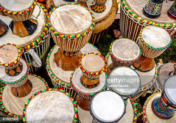 Bongo drums for sale at the New Orleans Jazz Fest.
