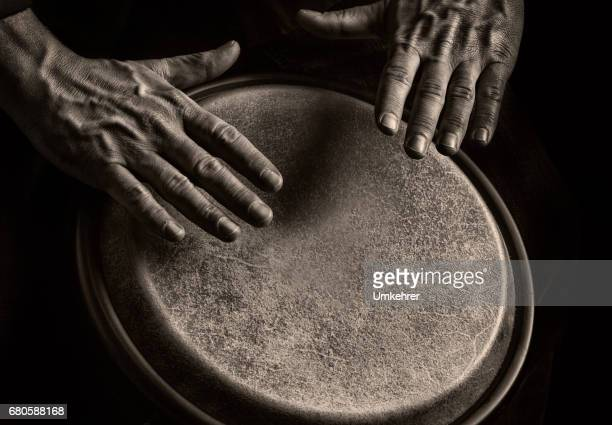 bongo player in sephia tone - percussion instrument stock photos and pictures