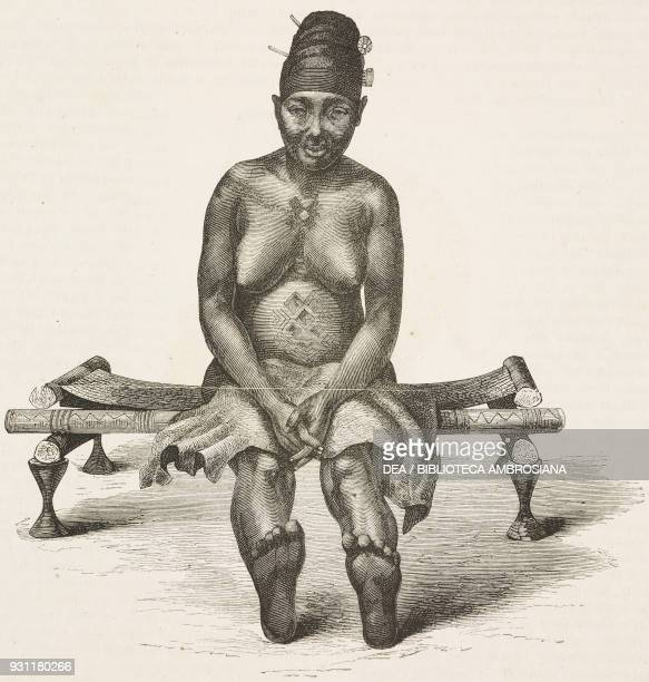 Bongua's first wife drawing by OscarPierre Mathieu from a sketch by Schweinfurth from Heart of Africa Three years' travels and adventures in the...