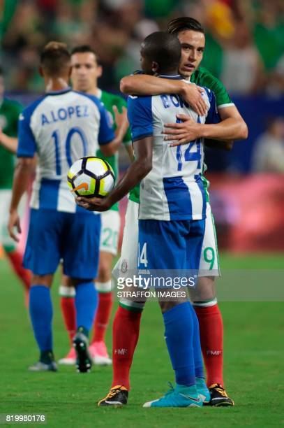 Boniek Garcia of Honduras greets Erick Torres of Mexico after the CONCACAF Gold Cup 2017 quarterfinal match between Mexico and Honduras at University...