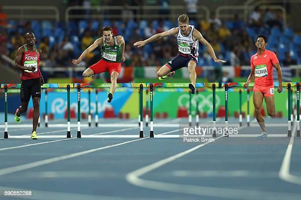 Boniface Mucheru Tumuti of Kenya Abdelmalik Lahoulou of Algeria Jack Green of Great Britain and Keisuke Nozawa of Japan compete during the Men's 400m...