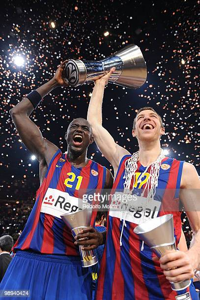 Boniface Ndong, #21 of Regal FC Barcelona and Fran Vazquez, #17 celebrates during the 2009-2010 Euroleague Basketball Champion Awards Ceremony at...