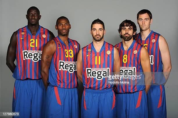 Boniface Ndong #21 Pete Mickeal #33 Juan Carlos Navarro #11 Victor Sada #8 and Erazem Lorbek #25 pose during the FC Barcelona Regal 2011/2012 Turkish...
