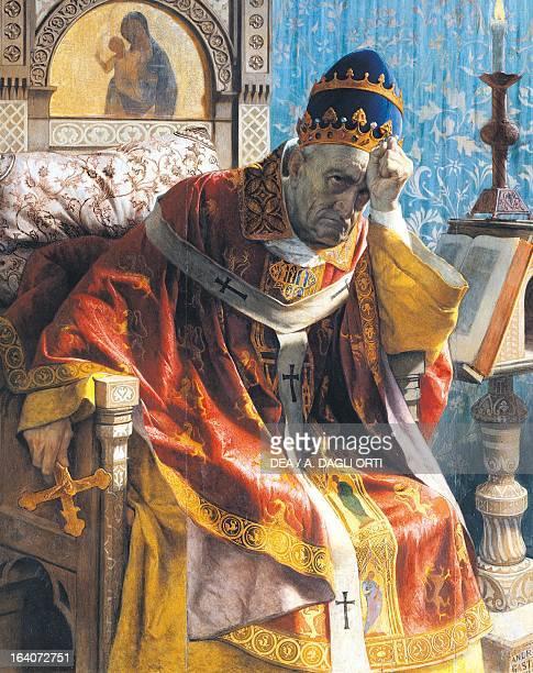 Boniface VIII encaustic painting on panel by Andrea Gastaldi detail Rome Galleria Nazionale D'Arte Moderna