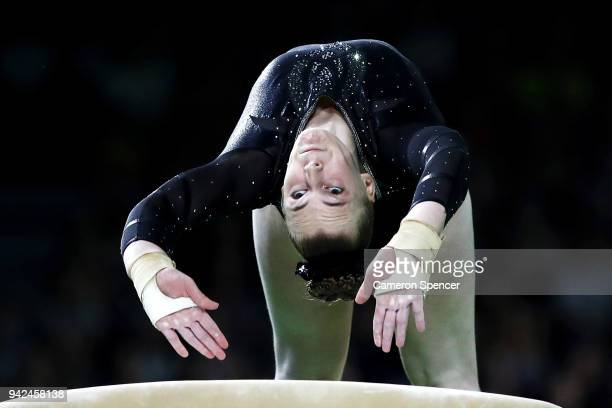 Bonita Shurmer of Jersey competes on the vault during the Gymnastics Artistic Women's Team Final and Individual Qualification on day two of the Gold...