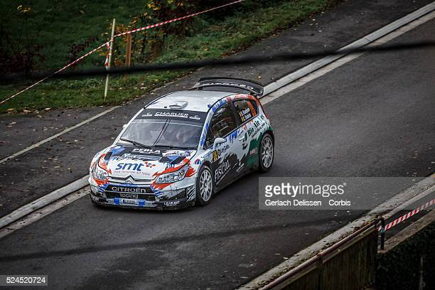 Bonjean and Dubois in the Citroen Citroen C4 WRC in action during the 42e Rallye Du CondrozHuy in Huy Belgium on November 8 2015