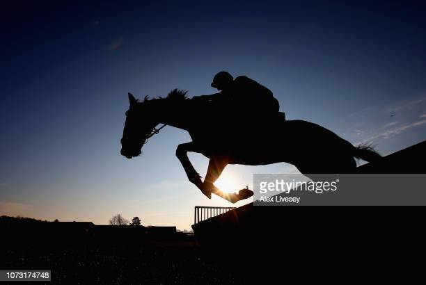 Bonjour Steve ridden by Sean Houlihan jumps a fence during The Garla Services Ltd Conditional Jockeys' Handicap Hurdle Race at Bangor Racecourse on...