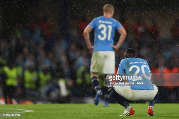 Bonke Innocent of Malmo dejected at full time of the UEFA Champions League group H match between Chelsea FC and Malmo FF at Stamford Bridge on...