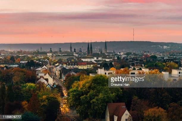 bonn city in autumn at sunset - bonn stock-fotos und bilder