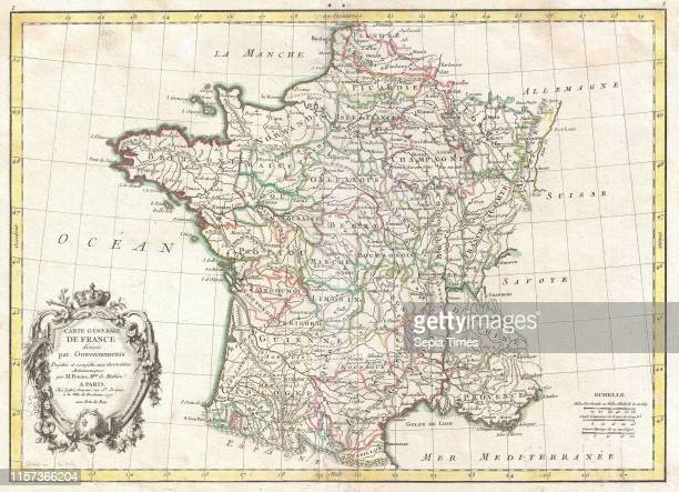 1771 Bonne Map of France Rigobert Bonne 1727 Ð 1794 one of the most important cartographers of the late 18th century