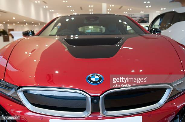 A BMW bonnet logo badge on a red M4 on October 20 2016 in Southend United Kingdom