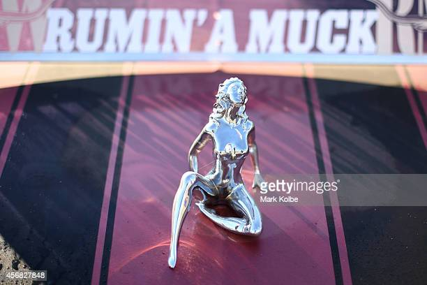 A bonnet ornament is seen on a ute on the second day of the 2014 Deni Ute Muster at the Play on the Plains Festival ground on October 4 2014 in...