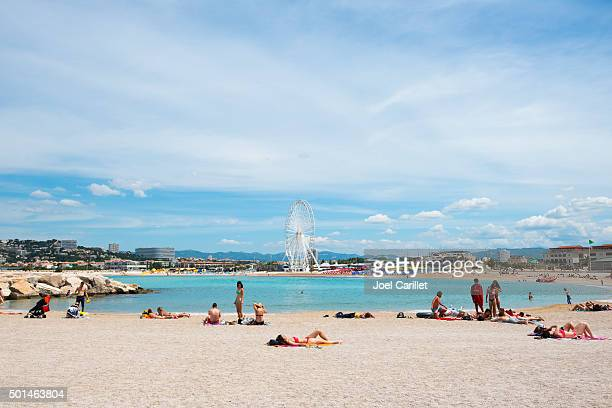 bonneveine beach in marseille, france - marseille stock pictures, royalty-free photos & images