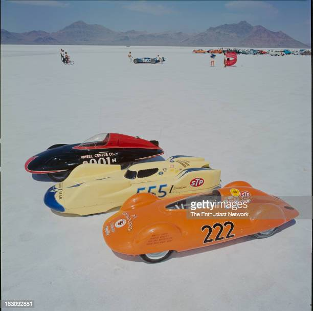 Bonneville National Speed Trials A trio of streamliners from the H and Iclasses Wheel Centre Company at top The Ball Point Banana #555 at center and...