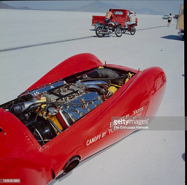 Bonneville National Speed Trials HammonMcGrathAppenfels Redhead with the engine cowling removed to expose the supercharged Hemi powerplant tucked...