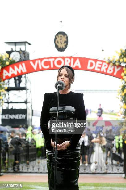 Bonnie Anderson sings the national anthem before race 7 the AAMI Victoria Derby during 2019 Derby Day at Flemington Racecourse on November 02, 2019...