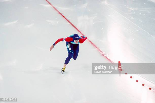 Bonnie Blair of the USA competes in the Women's 1000 meter event of the Long Track Speed Skating competition of the 1994 Winter Olympics on February...