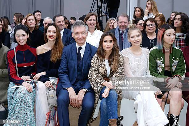 Bonnie Chen Star Dancer Dorothee Gilbert CEO Chloe Geoffroy de la Bourdonnaye Miroslava Duma Elena Perminova and Irene Kim attend the Chloe show as...