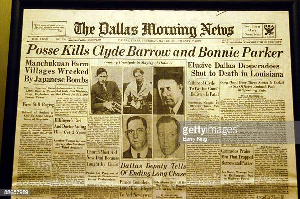 Bonnie & Clyde Newspaper Headline at state line Primm Valley Casino near Las Vegas, Nevada