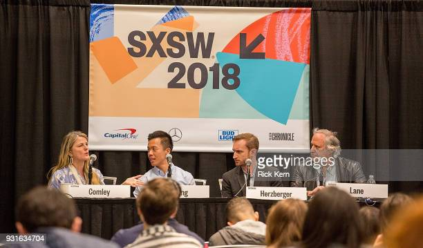 Bonnie Comley Clive Chang Chris Herzberger and Stewart F Lane speak onstage at the 'Keeping Performing Arts Alive in a Digital World' panel during...