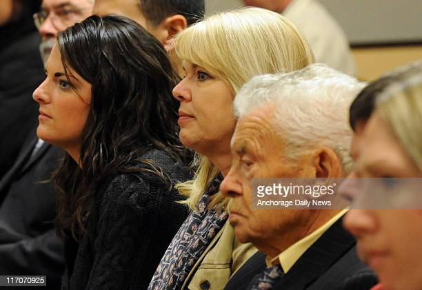 Bonnie Craig's sister Samantha Campbell left her mother Karen Foster middle and grandfather Kaj Larsen listen to the state's opening statement during...