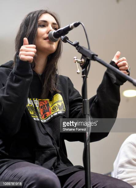 Bonnie Fraser of Stand Atlantic performs live and signs copies of their new album 'Skinny Dipping' during an in store session at HMV Manchester on...