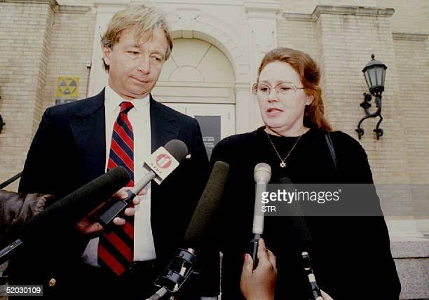 Bonnie Haldeman of Houston , mother of cult leader David Koresh and attorney Dick DeGuerin speaks with reporters 11 March 1993 at the Federal...