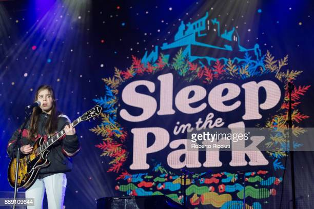 Bonnie Higgs performs on stage during Sleep In The Park a Mass Sleepout organised by Scottish social enterprise Social Bite to end homelessness in...