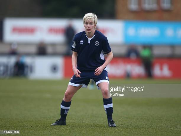 Bonnie Horwood of Millwall Lionesses L during The FA Women's Cup Fifth Round match between Arsenal against Millwall Lionesses at Meadow Park...